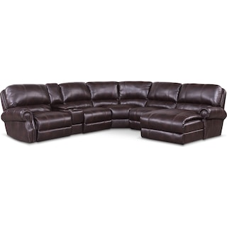 Dartmouth 6-Piece Power Reclining Sectional w/ Right-Facing Chaise and 2 Reclining Seats - Burgundy