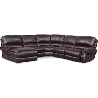 Dartmouth 5-Piece Power Reclining Sectional w/ Left-Facing Chaise and 2 Reclining Seats - Burgundy