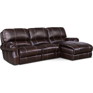 Dartmouth 3-Piece Power Reclining Sectional with Right-Facing Chaise - Chocolate