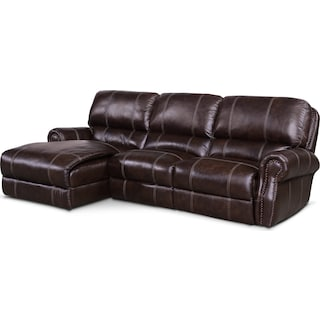 Dartmouth 3-Piece Power Reclining Sectional with Left-Facing Chaise and 1 Reclining Seat - Chocolate