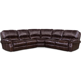 Dartmouth 5-Piece Dual-Power Reclining Sectional with 2 Reclining Seats - Chocolate