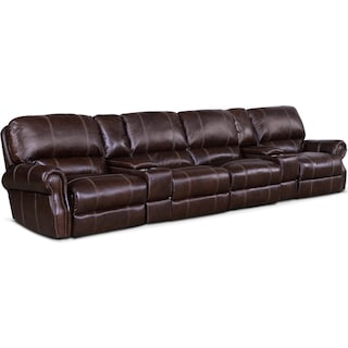 Dartmouth 6-Piece Dual-Power Reclining Sectional with 4 Reclining Seats - Chocolate