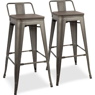 Dax Set of 2 Low Back Bar Stools - Antique Gray