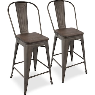 Dax Set of 2 High Back Counter-Height Stools - Antique Gray