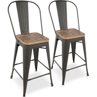 Dax Set of 2 High Back Counter-Height Stools - Gray