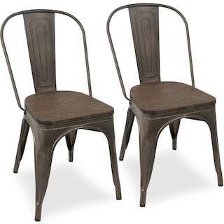 Dax Set of 2 Dining Chairs - Antique Gray/Espresso