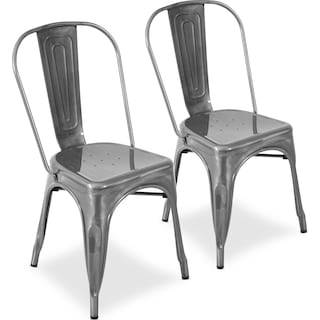 Dax Set of 2 Dining Chairs - Brushed Silver