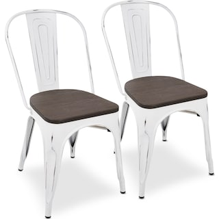 Dax Set of 2 Dining Chairs - Vintage White/Espresso