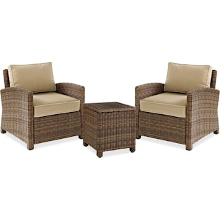 Destin 2 Outdoor Chairs and End Table Set - Sand