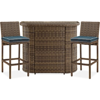 Destin Outdoor Bar and 2 Bar Stools - Blue