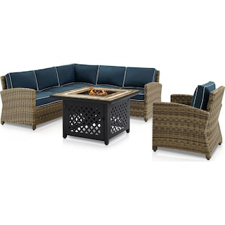 Destin 3-Piece Outdoor Sectional, Chair and Fire Table - Navy