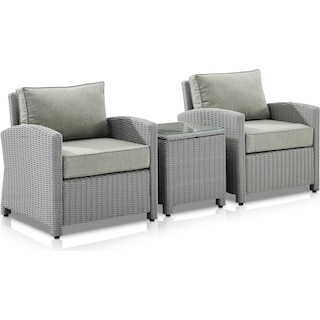 Destin Set of 2 Outdoor Chairs and End Table - Gray