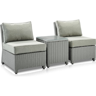 Destin Set of 2 Outdoor Armless Chairs and End Table