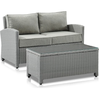 Destin Outdoor Loveseat and Coffee Table Set - Gray