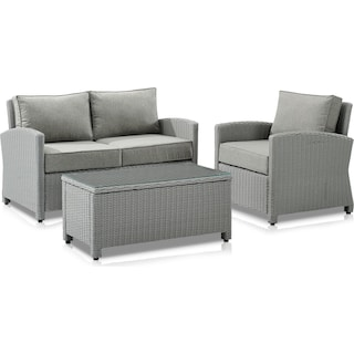 Destin Outdoor Loveseat, Chair and Coffee Table Set - Gray