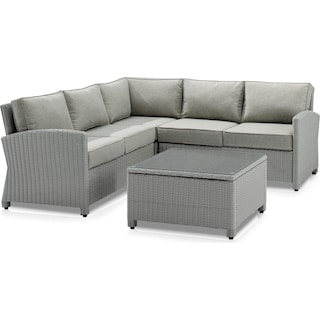 Destin 3-Piece Outdoor Sectional and Coffee Table Set - Gray