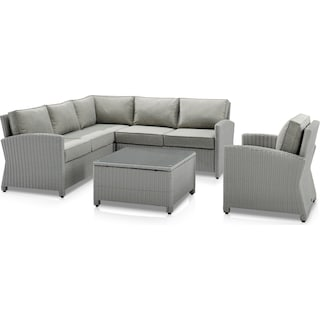 Destin 3-Piece Outdoor Sectional, Chair and Coffee Table - Gray