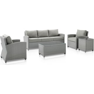 Destin Outdoor Sofa, 2 Chairs, Coffee Table and End Table - Gray