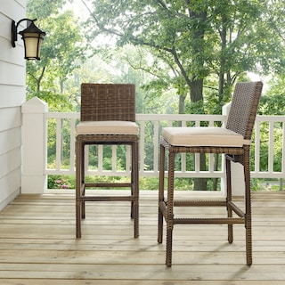 Destin Outdoor Set of 2 Bar Stools - Sand
