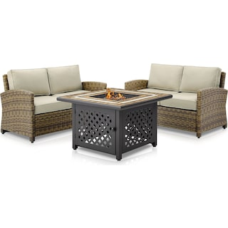 Destin Set of 2 Outdoor Loveseats and Fire Table - Sand