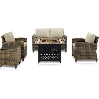 Destin Outdoor Loveseat, 2 Chairs, End Table and Fire Table Set - Sand