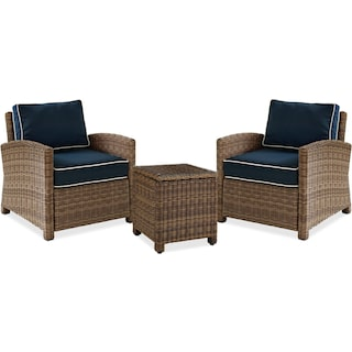 Destin 2 Outdoor Chairs and End Table Set - Navy