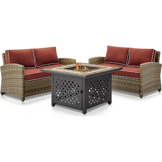 Destin Set of 2 Outdoor Loveseats and Fire Table - Sangria