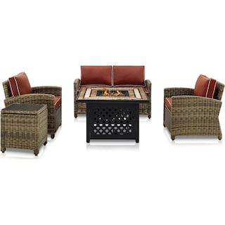 Destin Outdoor Loveseat, 2 Chairs, End Table and Fire Table Set - Sangria