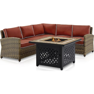 Destin 3-Piece Outdoor Sectional and Fire Table Set - Sangria