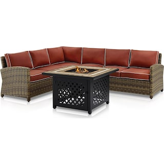 Destin 4-Piece Outdoor Sectional and Fire Table Set - Sangria