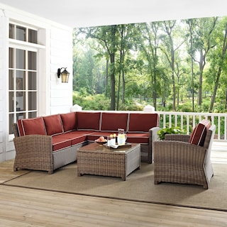 Destin 3-Piece Outdoor Sectional, Chair and Coffee Table Set - Sangria