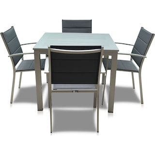 Edgewater Outdoor Square Dining Table and 4 Chairs - Gray