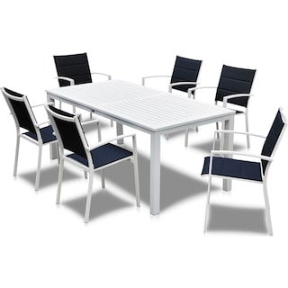 Edgewater Outdoor Rectangular Dining Table and 6 Chairs - Navy