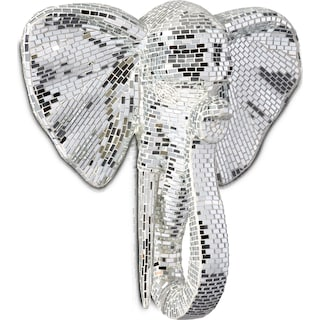 Elephant Head Wall Art - Gray