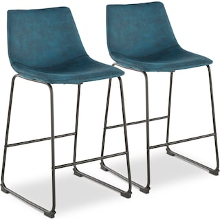 Eli Set of 2 Counter-Height Stools - Blue