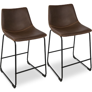 Eli Set of 2 Counter-Height Stools - Brown Faux Leather