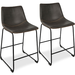 Eli Set of 2 Counter-Height Stools - Gray Faux Leather