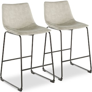 Eli Set of 2 Counter-Height Stools - Light Gray