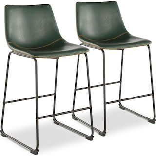Eli Set of 2 Counter-Height Stools - Green Faux Leather
