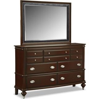 Esquire Dresser and Mirror - Merlot