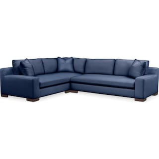 Ethan Comfort 2-Piece Large Sectional with Right-Facing Sofa - Abington TW Indigo