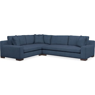 Ethan Cumulus Performance 2-Piece Large Sectional with Right-Facing Sofa - Peyton Navy