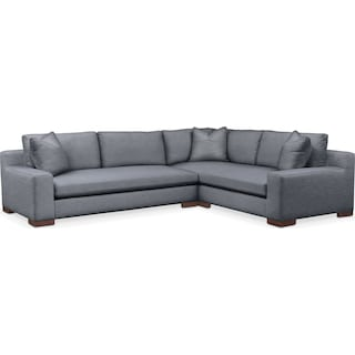 Ethan Cumulus 2-Piece Large Sectional with Left-Facing Sofa - Dudley Indigo