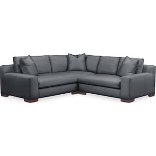 Ethan Comfort 2-Piece Small Sectional with Right-Facing Loveseat - Millford II Charcoal