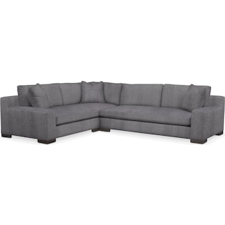 Ethan Comfort 2-Piece Large Sectional with Right-Facing Sofa - Charcoal