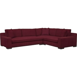 Ethan Comfort 2-Piece Large Sectional with Left-Facing Sofa - Modern Velvet Wine