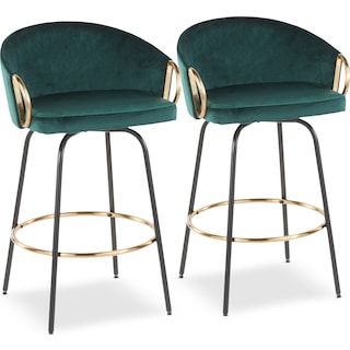 Eve Set of 2 Counter-Height Stools - Green Velvet