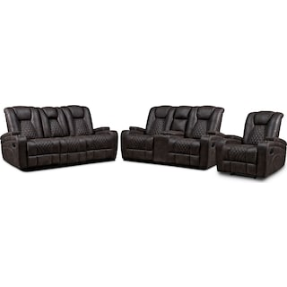 Felix Manual Reclining Sofa, Loveseat and Recliner - Brown