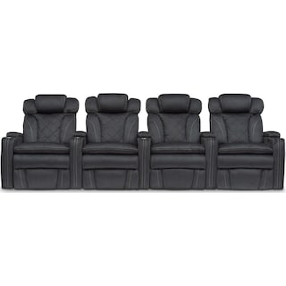 Fiero 4-Piece Dual-Power Reclining Home Theater Sectional - Charcoal