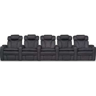 Fiero 5-Piece Dual-Power Reclining Home Theater Sectional - Charcoal
